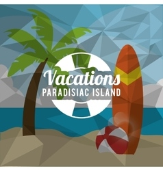 palm tree summer holiday vacation icon vector image