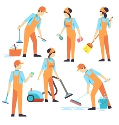 Cleaning staff in different positions vector