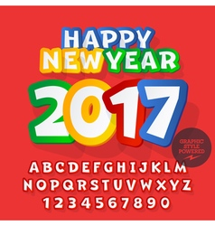 Funny sticker happy new year 2017 greeting card vector