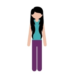 Woman with causal wear and long hair vector