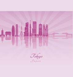 tokyo v3 skyline purple radiant orchid vector image
