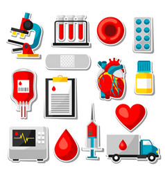 Set of blood donation items medical and health vector