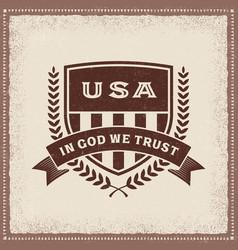 vintage usa in god we trust label vector image