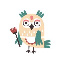 Cute cartoon owl bird holding flower colorful vector