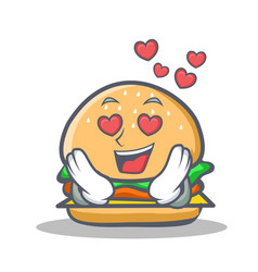 In love burger character fast food vector