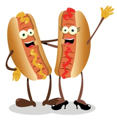 Hot dog couple vector