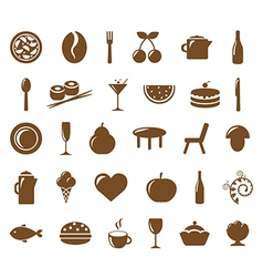 Collection restaurant icons vector