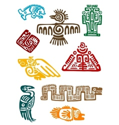 Ancient maya monsters vector