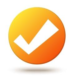 Orange circle shape internet button with check vector