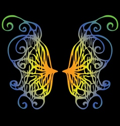Iridescent wings of a butterfly on a black vector image