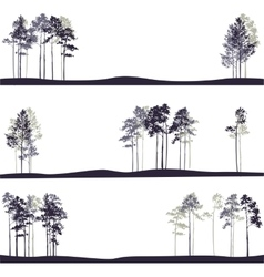Set of different landscapes with pine trees vector