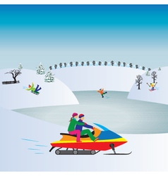 Couple on a snowmobile winter christmas vacation vector