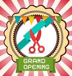 Retro grand opening card with flags - label and vector