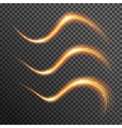 Fire sparkle spiral wave line with flying vector