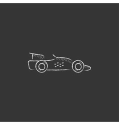 Race car drawn in chalk icon vector
