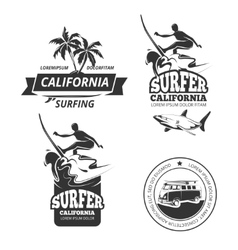 Surfing labels or badges vector