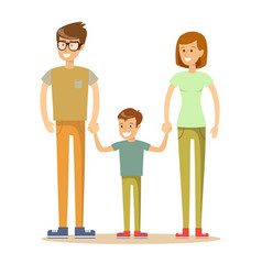 a happy family on white background vector image vector image