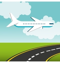 Airplane flying transport icon vector