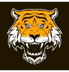 Angry tiger face roaring tiger head vector