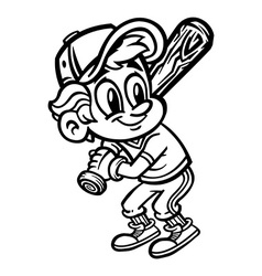 Baseball cartoon kid vector image vector image