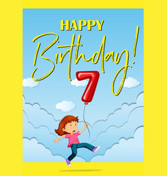 Birthcard card with girl and balloon number seven vector