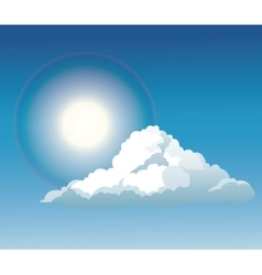 Blue sky cloud sun light shine vector
