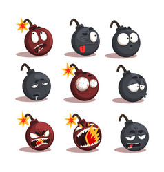 cartoon bomb emotions set vector image vector image