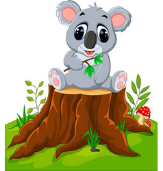 Cartoon koala posing on tree stump vector