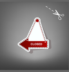 Closed sign red icon with vector