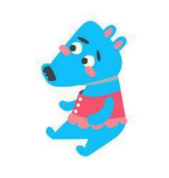 Cute cartoon deep sky blue wolf sitting funny vector