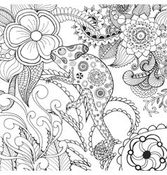 Cute chameleon in fantasy flowers vector
