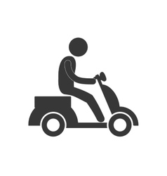 Delivery man drive motorcycle figure pictogram vector
