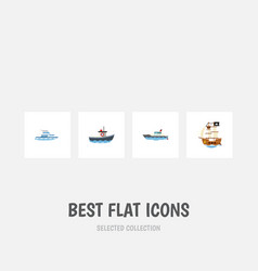 Flat icon boat set of transport boat sailboat vector