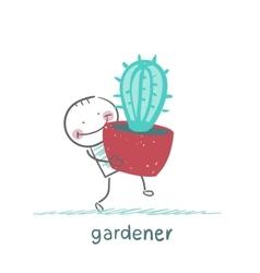 Gardener carries a cactus vector