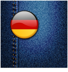 Germany bright colorful badge on denim fabric text vector