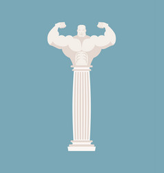 Greek column athlete strong architectural element vector