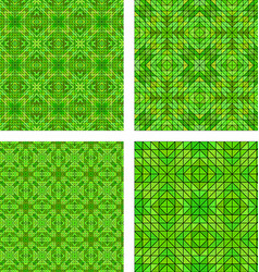 Green seamless mosaic pattern background set vector