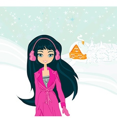 happy winter girl vector image vector image