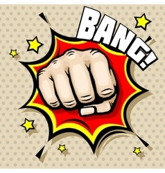 Hitting fist bang in pop art style vector image vector image