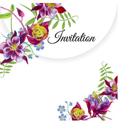 invitation with watercolor flowers vector image vector image