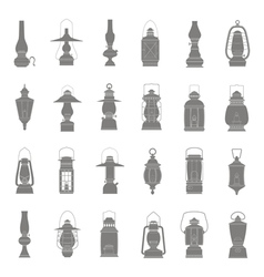 Monochrome icons set with lantern vector
