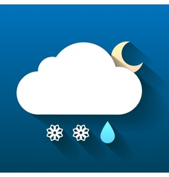 Night cloud snow flakes and rain drop isolated on vector