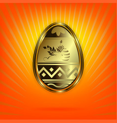 Orange design with a gold-colored easter egg vector
