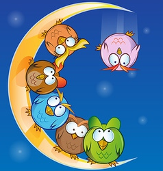 owl group cartoon on moon vector image