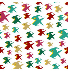 pattern with cartoon fishs vector image vector image
