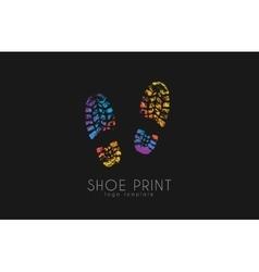 Shoe print logo color shoe print creative logo vector