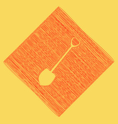 Shovel to work in the garden red scribble vector