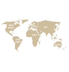 simplified beige silhouette of world map divided vector image