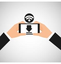 Smartphone wifi internet download icon vector image