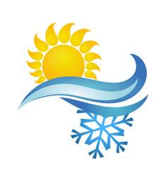 Sun and snowflake symbol ventilation vector
